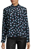 Alice + Olivia Willa Silk Dove-Print Shirt