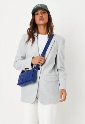 Missguided Gray Boyfriend Blazer Coat