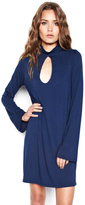 Michael Lauren Mercury Bell Sleeve Keyhole Dress in Port Navy