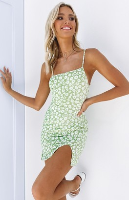 Beginning Boutique Kylo Asymmetric Dress Green Floral