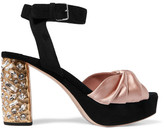 Miu Miu Crystal-embellished Satin And Suede Platform Sandals - Antique rose