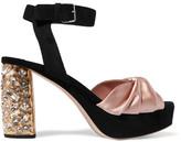 Miu Miu Crystal-embellished Satin And Suede Platform Sandals - IT36
