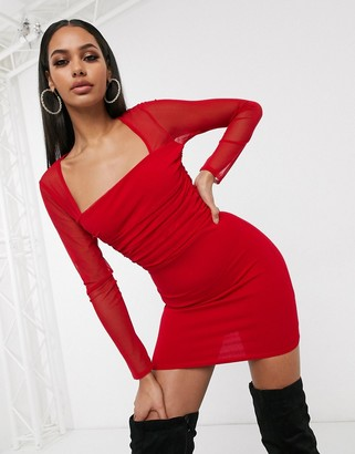 Femme Luxe square neck sheer sleeve bodycon dress in red