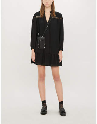 Claudie Pierlot Rolly crochet-trim crepe mini dress