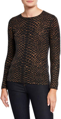 Neiman Marcus Snake-Print Crewneck Long-Sleeve Cashmere Sweater