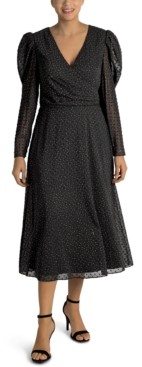 Julia Jordan Puff-Sleeve Midi Dress