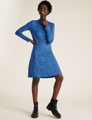Marks and Spencer Jersey Ditsy Floral High Neck Swing Dress