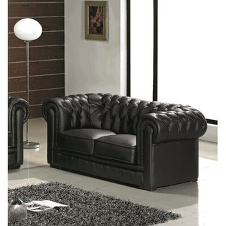 Botkin Leather Chesterfield Loveseat Orren Ellis Upholstery Color: Black