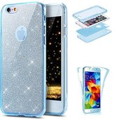 "iPhone 7 Case, PHEZEN [Full Body Coverage] Front and Back 360 Degree Protective Case Bling Glitter Sparkly Shockproof Ultra Thin TPU Silicone Gel Case Cover For iPhone 7 4.7"" (Blue)"