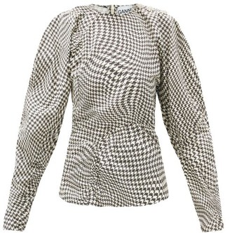 Ganni Optical Houndstooth Crystal-button Cotton Blouse - Black White