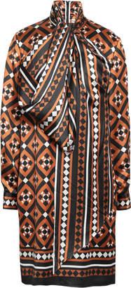 Mary Katrantzou Lyonel Pussy-bow Printed Satin Dress