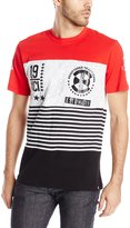 Southpole Men's Short Sleeve Cut and Sewn Stripe Tee with HD Prints