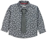 Sovereign Code Infant Boys' Chambray Tree Print Shirt & Attached Solid Tie Set - Sizes 12-24 Months