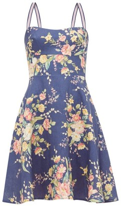 Zimmermann Zinnia Floral-print Linen Dress - Womens - Blue Print
