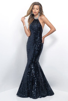 Blush Lingerie Sequined High Halter Mermaid Gown 11325