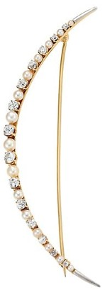 Renee Lewis 18K Yellow Gold, Antique Diamond & 1-2MM Pearl Crescent Moon Brooch