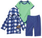 Bon Bebe Blue & Green Plaid Microfleece Jacket Set - Infant