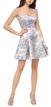 Blondie Nites Juniors' Floral Brocade Dress