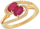 Lord & Taylor Diamonds, Ruby and 14K Yellow Gold Ring