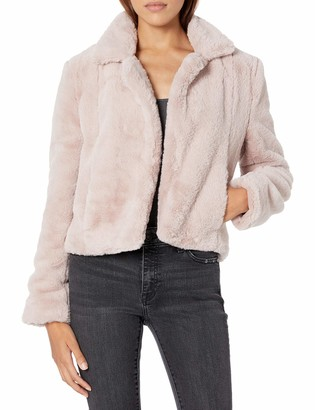 Blank NYC Womens Solid Cropped with No Closure and Side Pockets Faux Fur Jacket