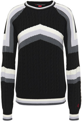 Perfect Moment Striped Cable-knit Merino Wool Sweater