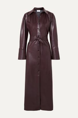 Nanushka Rosana Belted Vegan Leather Dress - Merlot