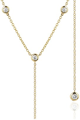 Ef Collection 14K Yellow Gold 8 Diamond Lariat Necklace - 0.28 ctw