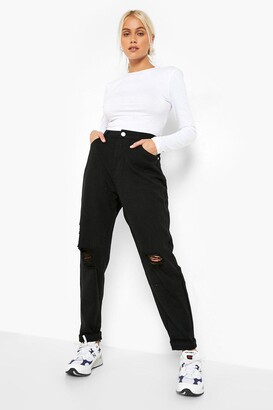 boohoo High Rise Distressed Dad Jeans