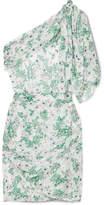 Isabel Marant Myron One-shoulder Fil Coupé Silk-blend Mini Dress - White
