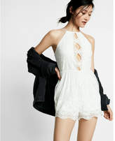 Express embroidered mesh romper