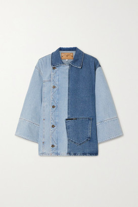 McQ Maru Asymmetric Two-tone Denim Jacket - Light denim