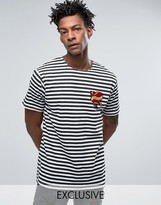 Reclaimed Vintage Revived X Romeo & Juliet Oversized T-Shirt In Black With Heart Patch And Striped Print