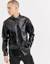 Asos Design ASOS DESIGN regular fit patent pu shirt in black