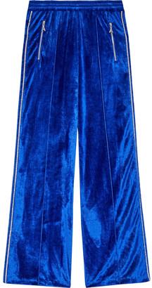 Area Crystal-trimmed Velour Track Pants