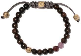 Shamballa Jewels 18kt yellow gold, diamond and wood non-braided beaded bracelet