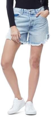 Good American The Bombshell High Waist Cutoff Petal Hem Denim Shorts (Regular & Plus Size)