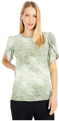 MICHAEL Michael Kors Sunbleached Paisley Petal Sleeve Top (Army Green) Women's Clothing