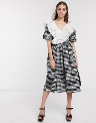 Sister Jane midi dress with puff sleeves and ruffle trim in houndstooth