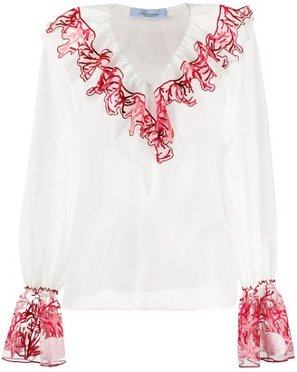 Blumarine Coral Embroidered Ruffle Blouse