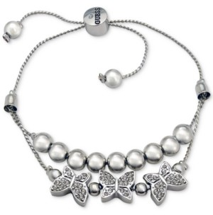 GUESS Silver-Tone Bead & Pave Butterfly Double-Row Slider Bracelet