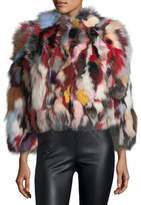 Rebecca Minkoff Rachel Multicolor Long-Sleeve Fox Fur Jacket