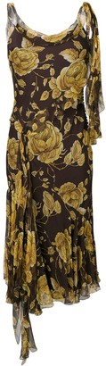 Christian Dior Pre Owned floral print bias-cut dress
