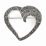 PriceRock Sterling Silver Marcasite Heart Pin