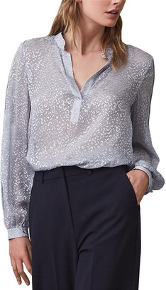 Reiss Brie Animal Burnout Silk-Blend Blouse