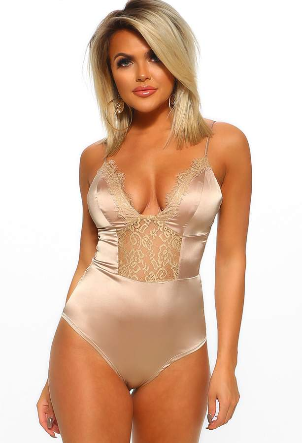 Pink Boutique Touch Of Glamour Beige Satin Lace Detail Bodysuit