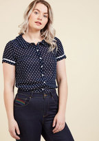 ModCloth Darling in Dots Button-Up Top in Navy in XXS