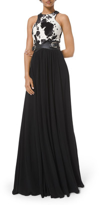 Michael Kors Collection Calf Hair-Bodice Gown With Belt