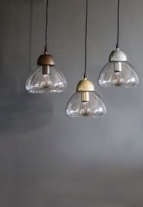 The Forest & Co. - Etched Metal Glass Pendant Lights - Copper - Copper/Silver/Gold