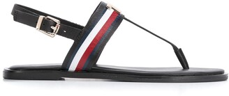 Tommy Hilfiger Logo Applique Flat Leather Sandals