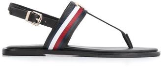 Tommy Hilfiger Logo Applique Flat Leather Sandals